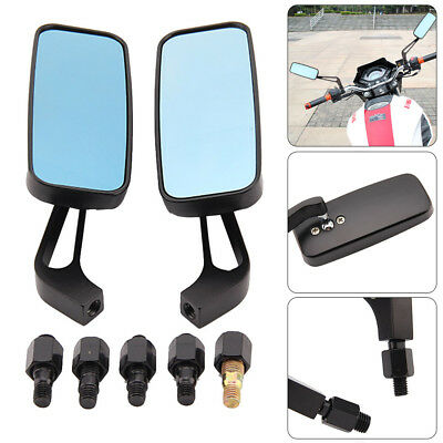 8mm 10mm Black Motorcycle Wing Side Mirrors Anti Glare Motorbike Rearview Pair
