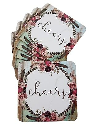 Drink Coasters Feather Flower Cheers Glossy Scuff Resistant Placemat Dining S/6