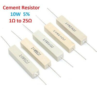 Wirewound Cement Resistor Ceramic 10W Tolerance ± 5% 1 Ohm 2 5 8 10 15 20 25 Ohm