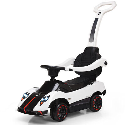 Pagani Licensed Electric Kids Ride On Push Car Toddler Handle Stroller Toy White