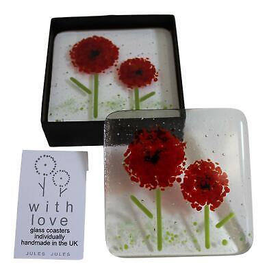 Pair of Handcrafted Glass Coasters Featuring a Red Flower