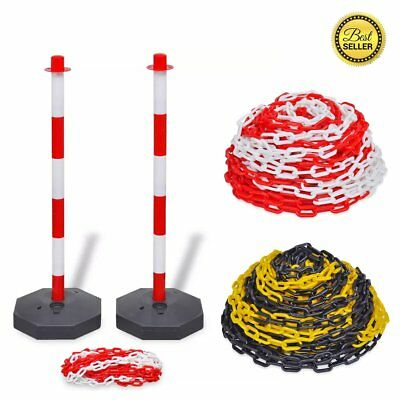 10 m Chain Post Set/30m Plastic Warning Chain Security Bollards Safety Barrier