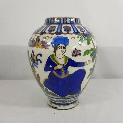 Decorative Antique Persian Qajar Pottery Vase Painted With Seated Figures 25.5cm