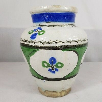 Antique Early 20th Century? Persian Qajar pottery Vase Painted Flowers 20.5cm