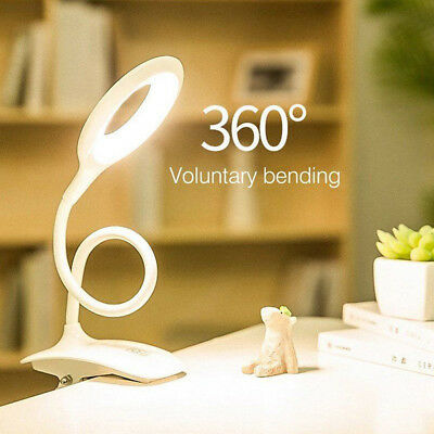Flexible 3-Level Touch Sensor LED Reading Light Desk Table Lamp USB Rechargeable