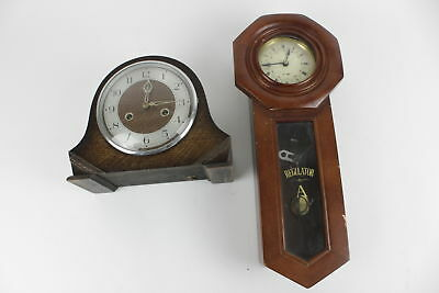 2 x Vintage Wooden Case Key Wind Mantel, Wall Clocks WORKING Inc. Smiths