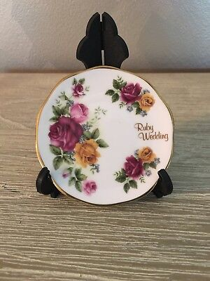 """""""Ruby Wedding"""" Miniture Plate 'Blue Waters Of England -Staffordshire"""