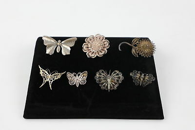7 True Vintage .925 STERLING SILVER BROOCHES Butterfly & Flower inc Filigree 44g