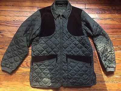 Barbour Quilted Khaki Brown Patch Shooting Jacket Brand New! Size Large. Barbour