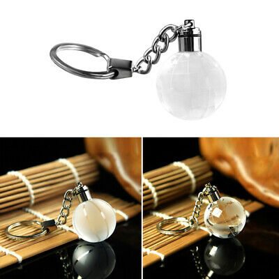 Charm Cool Crystal Ball 3D Engraved Key Chain Ring Keyring LED Glow Decoration