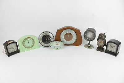 8 x Vintage Mantel / Bedside Hand-Wind / Electric Clocks For Repair Inc. Smiths