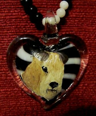 Lakeland Terrier hand painted on a heart shaped Murano glass pendant/bead/neckla
