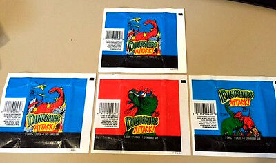 Dinosaurs Attack !!! - 25x Wax Pack Card Wrappers - Topps 1988 - NO TEARS !!