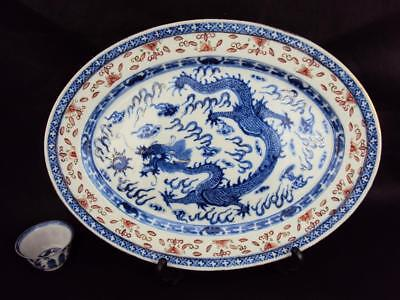 33CM STUNNING Chinese Antique Porcelain Oriental Blue White Dragon Charger Plate