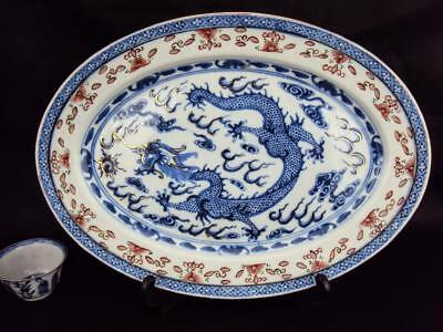 31CM STUNNING Chinese Antique Porcelain Oriental Blue White Dragon Charger Plate