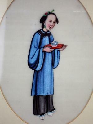 V-Fine Chinese Oriental Antiques Rice Paper Pith Paintings Lady Holding Tea Bowl