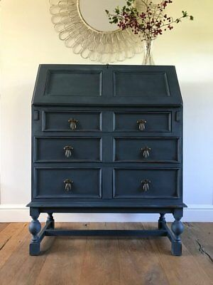 Navy blue antique writing bureau/desk - hand painted, solid oak with bronze hand