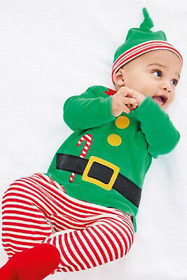 Next Baby Boys Elf Christmas Babygrow /Sleepsuit With Matching Hat 0-1 Month BNW