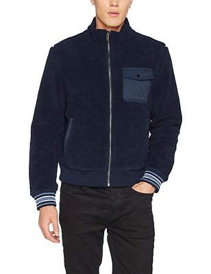 ORIGINAL PENGUIN MEN S Fleece Bomber Jacket Blue (Dark Sapphire ... bceb0a5767c