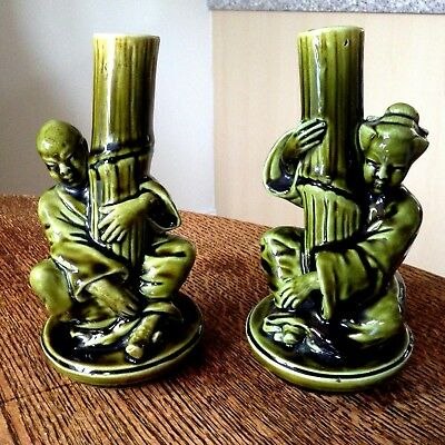 Pair of Sarreguemines Majolica Oriental Figure Spill Vases Late 19th Cent
