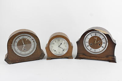 3 x Vintage Wooden Case Key Wind Mantel Clocks Spares & Repairs Inc. Smiths