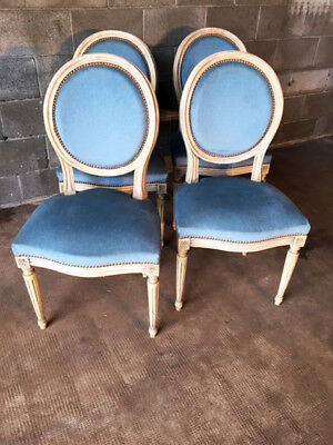 Set of 4 Elegant French Lacquered Medallion Chairs