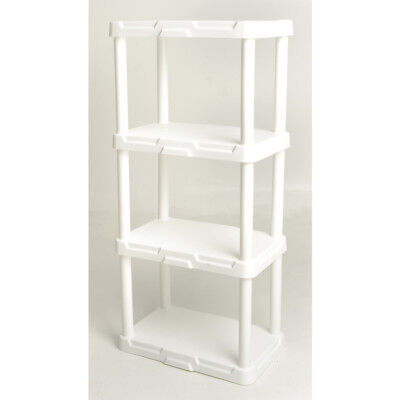 "Blue Hawk 48""Hx22""Wx14.25""D 4-Tier White Plastic Freestanding Shelving Unit, New"