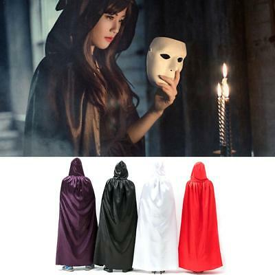 UK Kids Adult Halloween Cosplay Death Cape Long Hooded Cloak Wizard Witch Gift