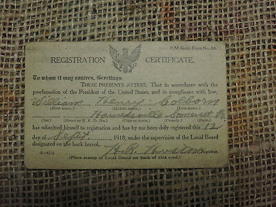 Antique World War One, Harnedsville Pa. Somerset Co. Registration Military Card
