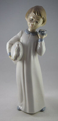 Lladro NAO Figurine 'Boy with Clock' by Jose Roig #0596 Issue Year 1992 Retired