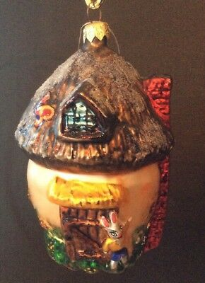 """Radko """"Shroom with a View"""" Easter Bunny House Glass Hand-Painted Ornament"""