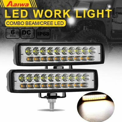 2X 6 INCH Dual-Color ED WORK LIGHT BAR COMBO BEAM OFFROAD DRIVING FOG LAMP UTE