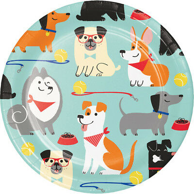 8 x Puppy Dog Paper Party Dessert Plates Dog Lovers Birthday Party 18cm