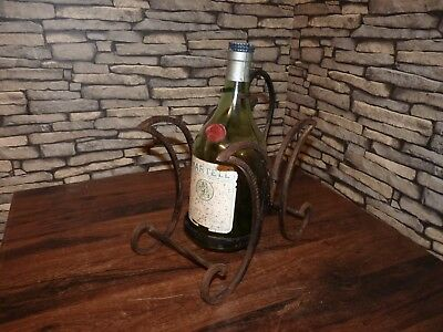 Vintage Collectable Martell Brandy Cognac Promotional Metal Cage Pourer & Bottle