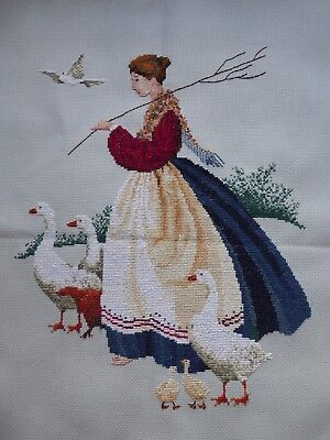 Vintage Hand Embroidered Cross Stitch Picture - Pretty Girl With Geese