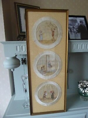 Vintage/antique Hand Painted Mats In Frame. Beautiful Work On Silk