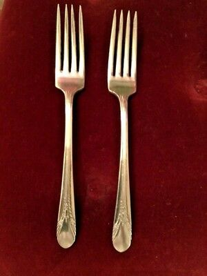 "Rogers Silverplate Dinner Fork 7.5"" Inheritance Lot of 2 Flatware c1941"