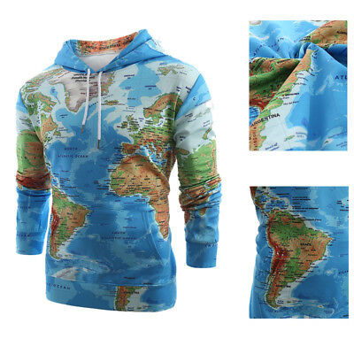 Casual Men'S World Map Print Pullovers Sweatshirts Hoodies Tops T-Shirt Coats
