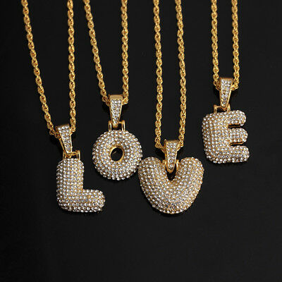 Hip Hop Iced Out Crystal 18K Gold Initial Alphabet Letter Pendant Chain Necklace