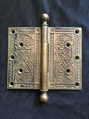 Antique Large Victorian Solid Bronze Eastlake Norwalk Door Hinge