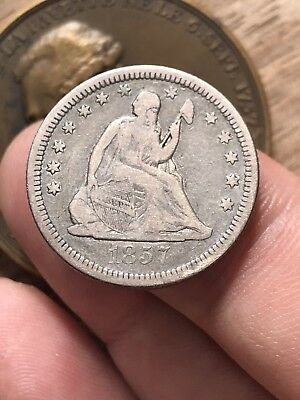 1857 O Seated Liberty Quarter 25c US Silver Coin