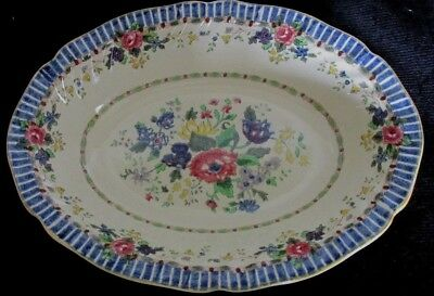 Royal Doulton England The Vernon Blue D5124 Oval Serving Bowl 10.5""