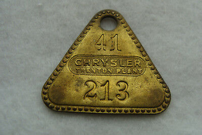 Vintage Chrysler Automobiles brass Tool Tag fron the Trenton New Jersey Plant