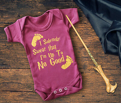 I solemnly swear that I'm up to no good short sleeve baby grow with baby feet.