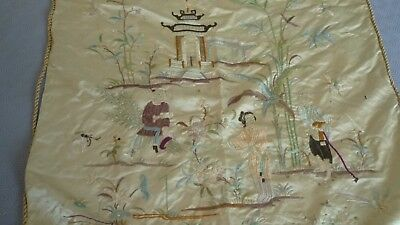 tapisserie tenture en soie chine 19 eme old silk tapestry china 19th