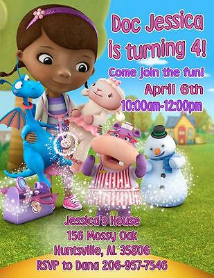 12 Custom Doc McStuffins Birthday Invitations Style 4 By The Notecard Lady