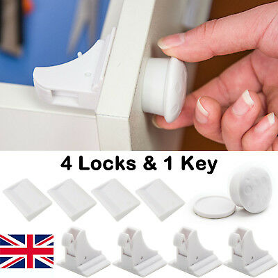 Cupboard Drawer Lock Secure Catches Pack Safety Baby Child Proofing Safe Locks