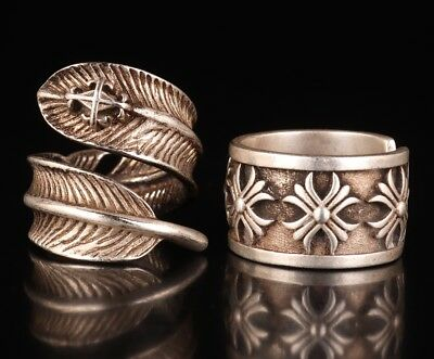 2 Rare Collection Tibetan Silver Handmade Feather Statue Fashion Ring Gift