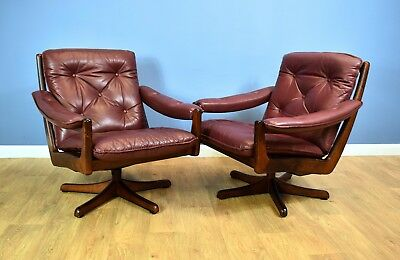 Mid Century Norwegian Cognac Swivel Leather Arm Chair by Soda Galvano (1 of 2)