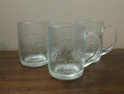 Coca-Cola Embossed Frosted Mugs Clear Glass Set of 3